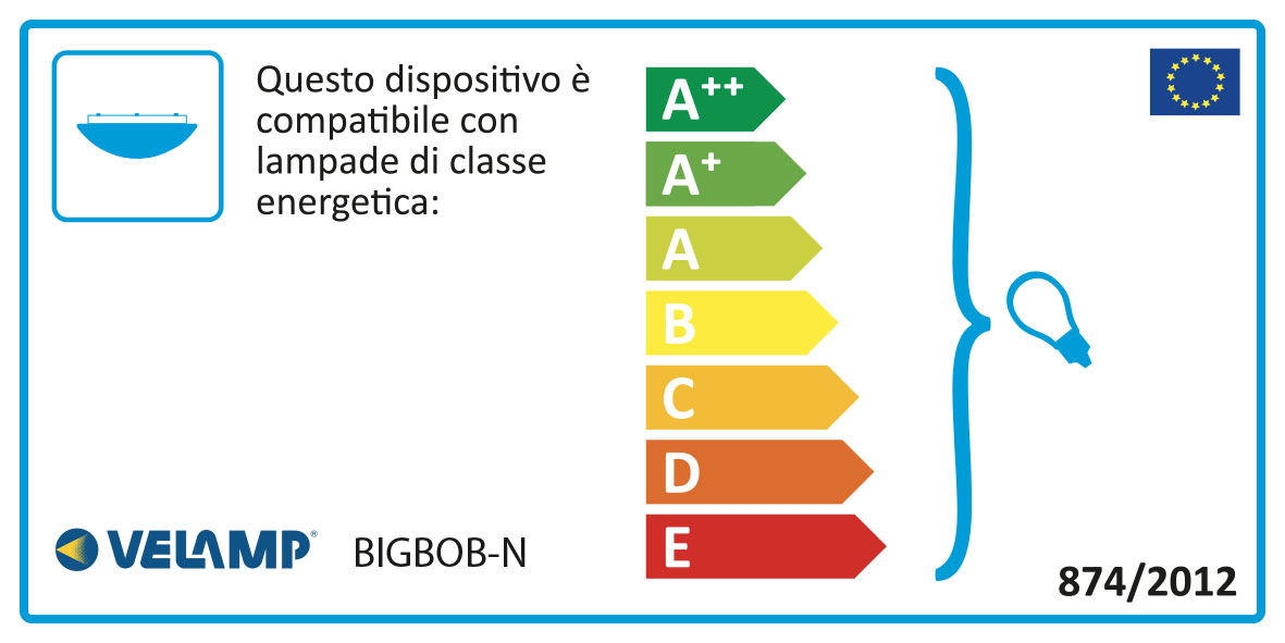 Energy Label Applique tonda 22cm in plastica + vetro e27 max 60w bigbob nero
