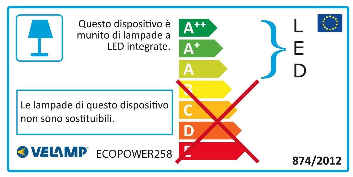 Energy Label ECOPOWER: Plafoniera stagna LED, 150cm, 6600lm, prolungabile