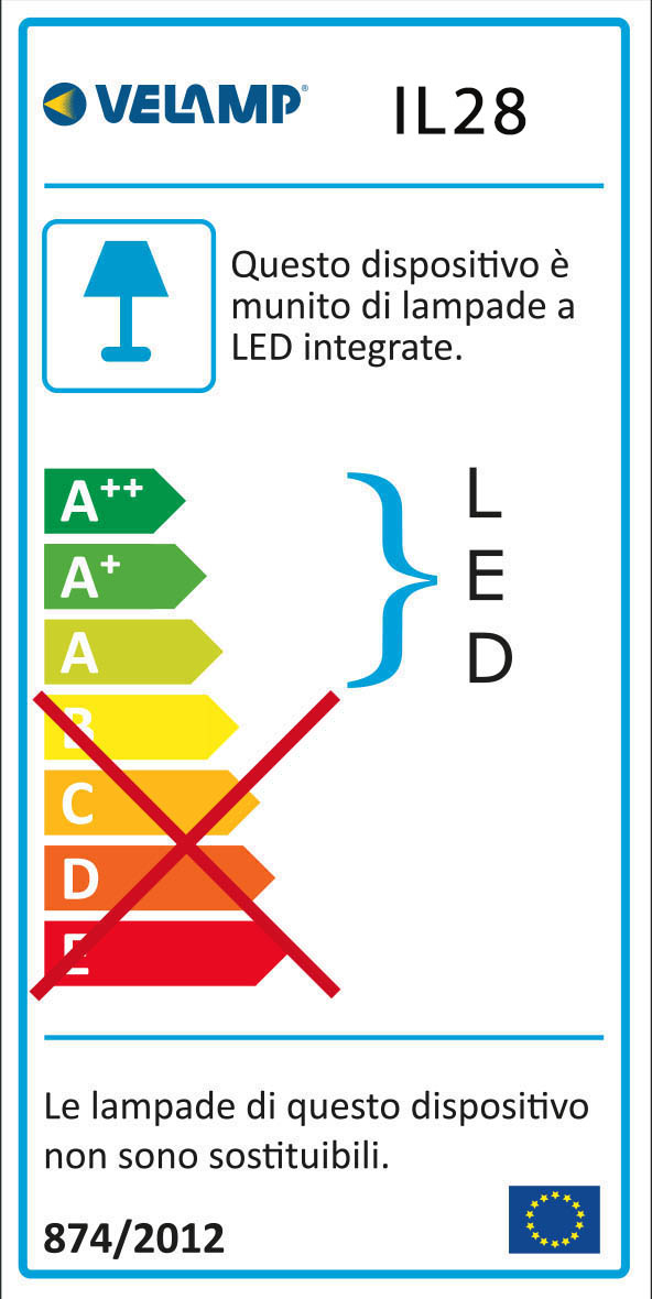 """Energy Label TOUCH LED: Punto luce LED con interruttore ON/OFF """"TOUCH"""". Bianco"""