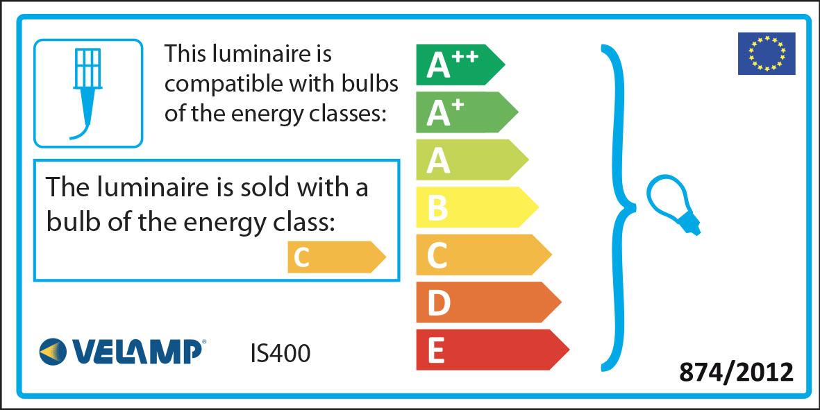 Energy Label HALO: Proiettore alogeno 400W con staffa e cavo 1,5m