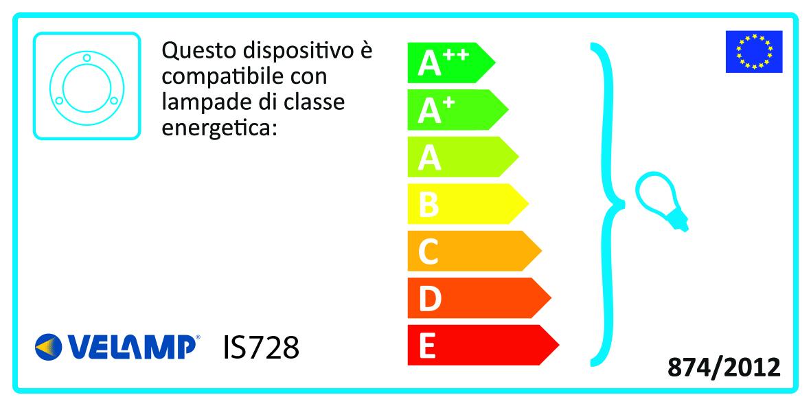 Energy Label Faretto da incasso per esterno. Attacco GU10