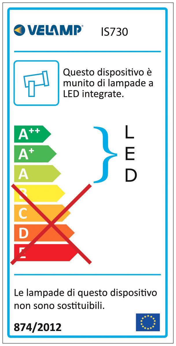 Energy Label Faretto LED 6W da esterno IP64 con cavo e picchetto