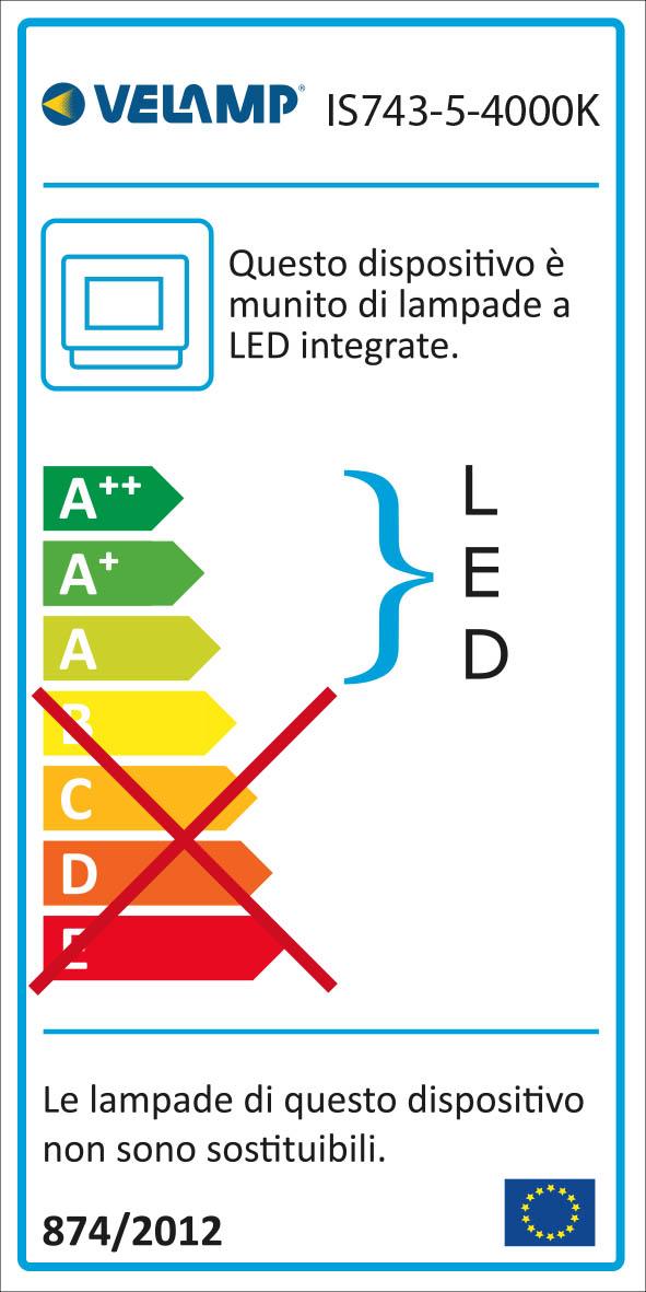 Energy Label PADLIGHT5, proiettore LED SMD 10W IP44,  nero 4000K. Con IR