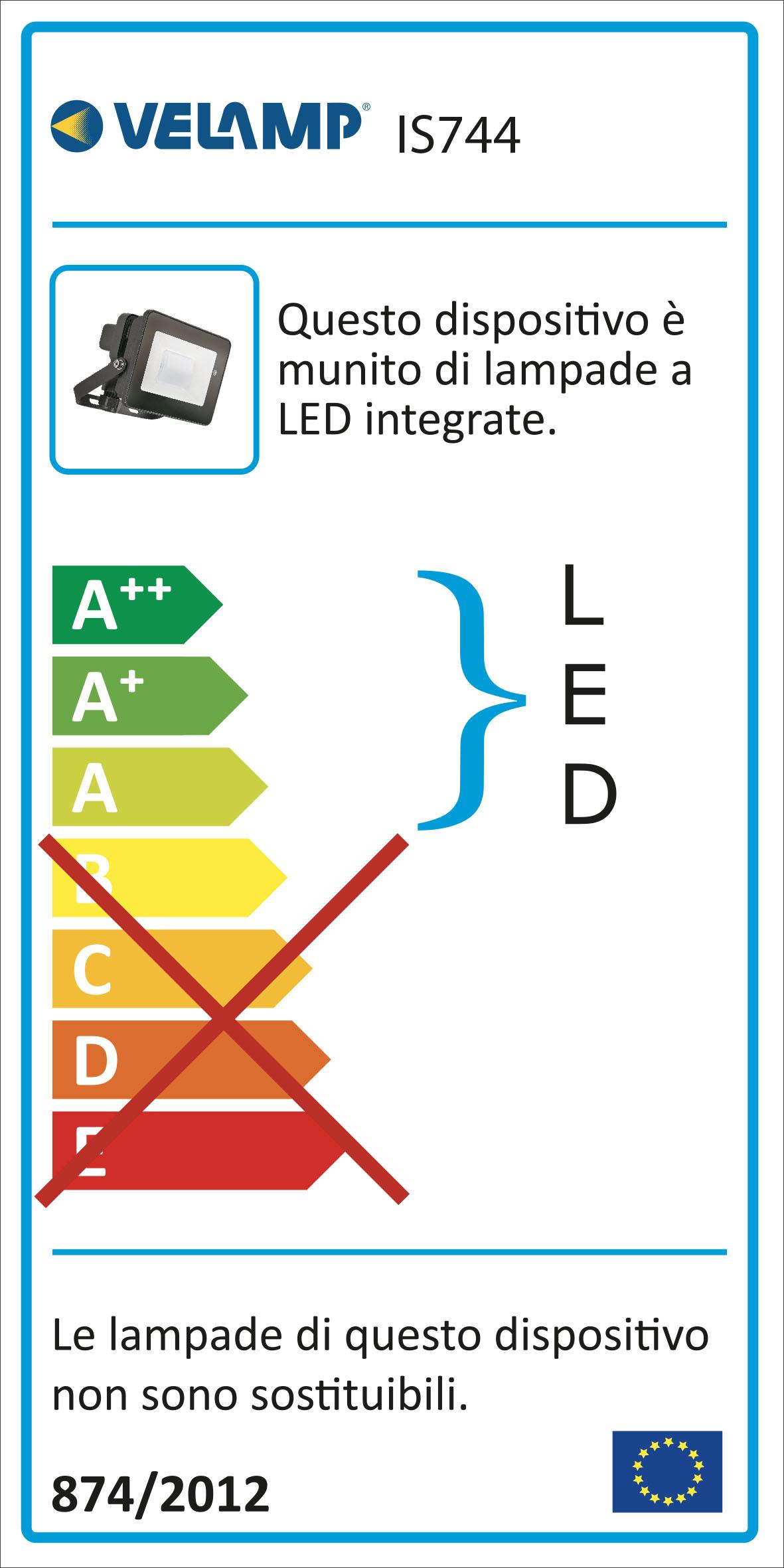 Energy Label Proiettore led smd 20w rgb con telecomando padlight rgb