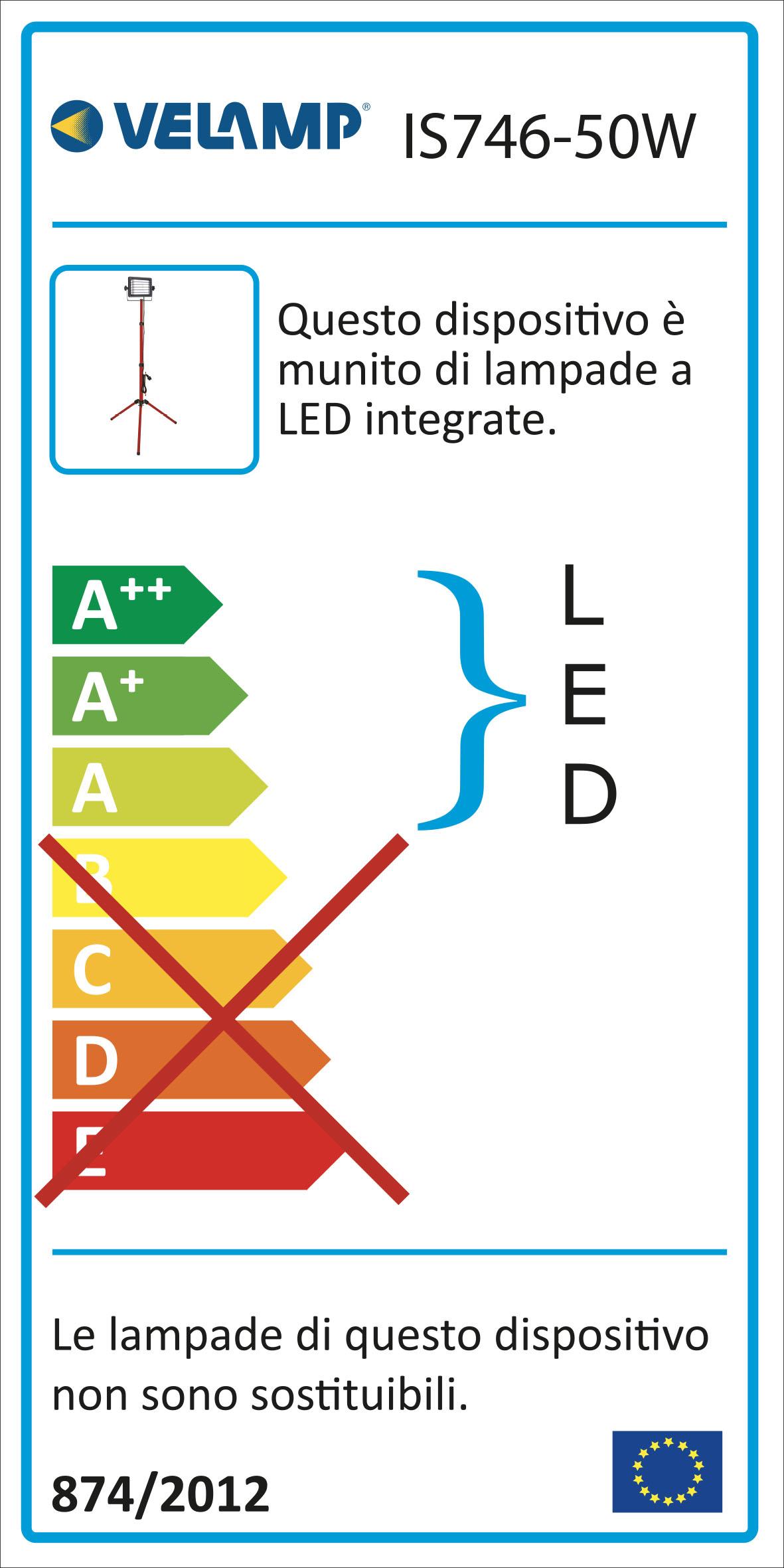 Energy Label WAINGRO: proiettore LED SMD 50W, IP65, con treppiede e cavo 3mt
