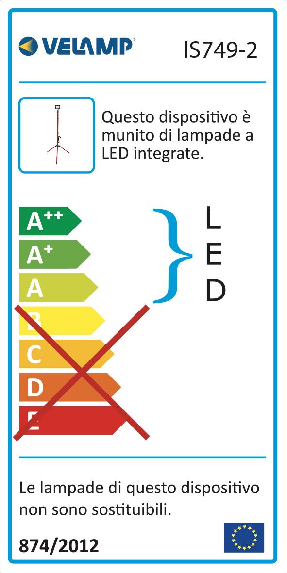 Energy Label LIGHT PAD 2: proiettore LED SMD 20W, IP65, nero, 6500K con treppiede e cavo 3mt