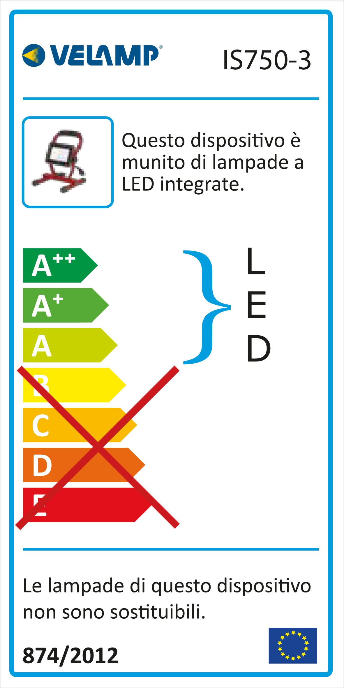 Energy Label Faretto led smd 20w ip65 con staffa e cavo 1,5mt