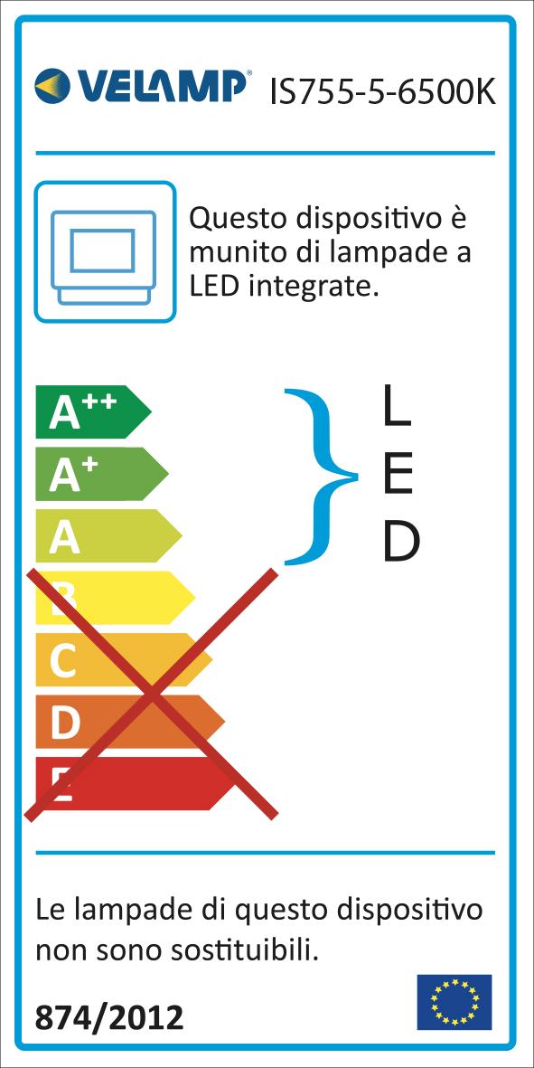 Energy Label PADLIGHT5, proiettore LED SMD 30W IP65,  nero 6500K