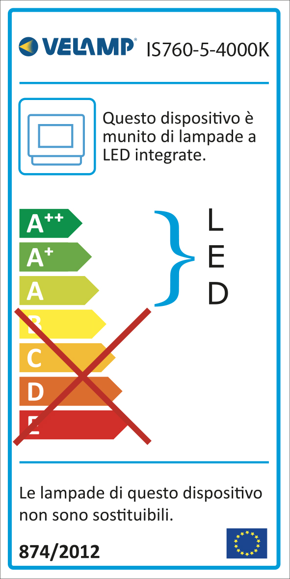 Energy Label PADLIGHT5, proiettore LED SMD 50W IP65,  nero 4000K