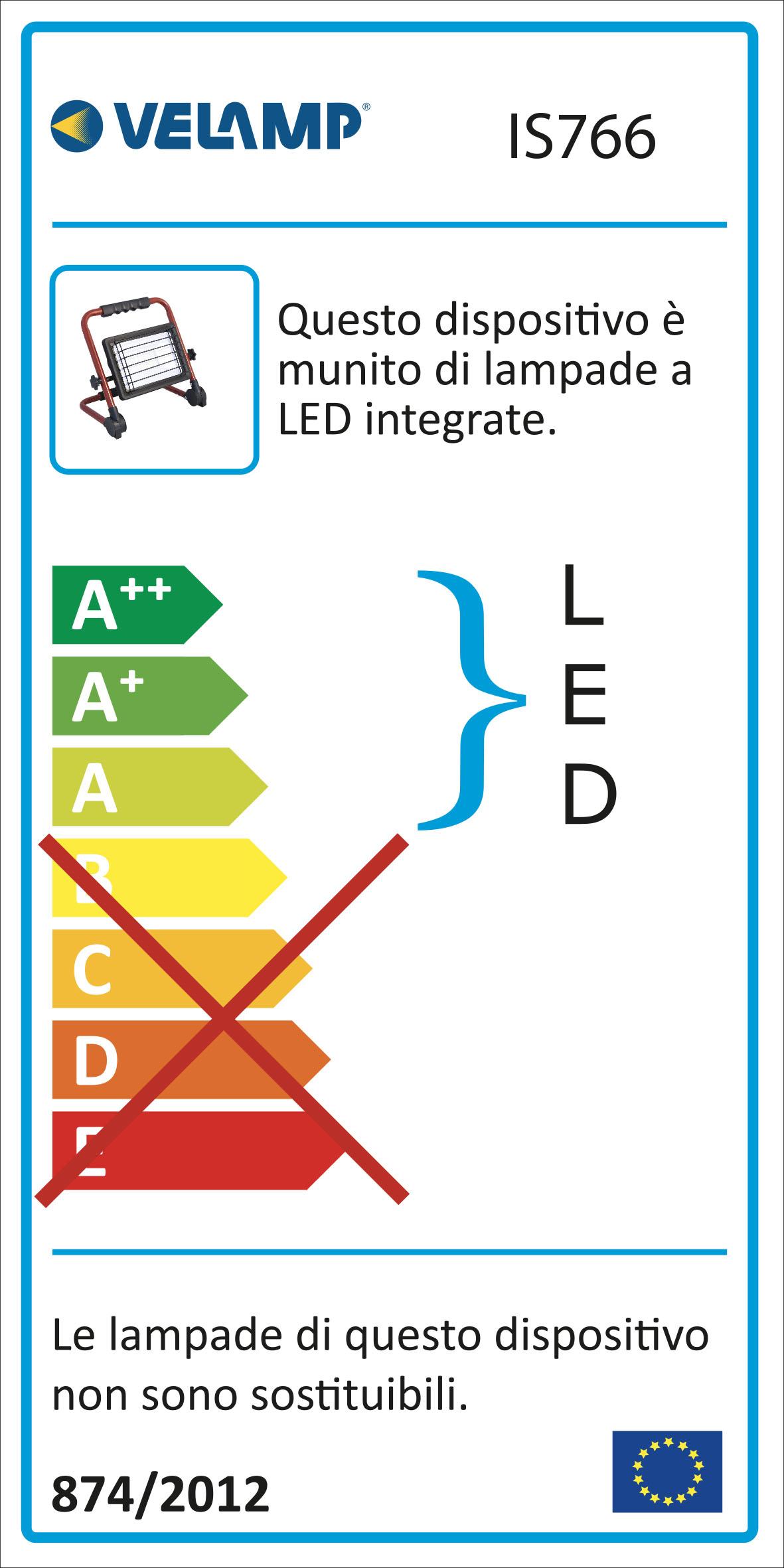 Energy Label WAINGRO: Proiettore LED SMD 50W con staffa, griglia e cavo 3m