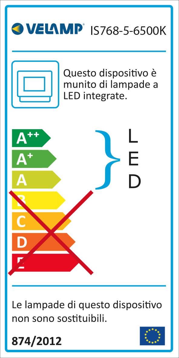 Energy Label PADLIGHT5, proiettore LED SMD 50W IP44,  nero 6500K. Con IR