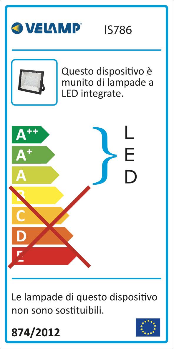 Energy Label Proiettore led smd 200w ip65 6500k padlight power nero