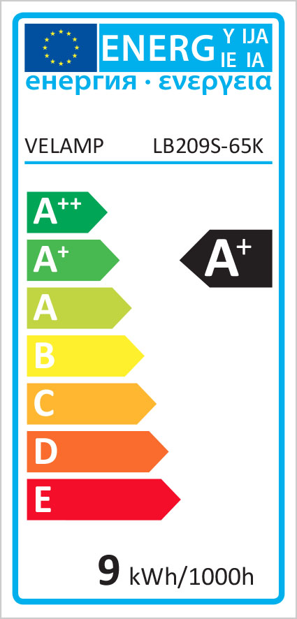 Energy Label Lampadina SMD LED, Goccia A60, 9W/806lm, base E27, 6500K
