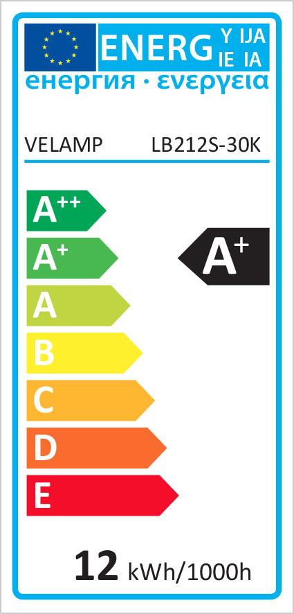 Energy Label Lampadina SMD LED, Goccia A60, 12W/1055lm, base E27, 3000K