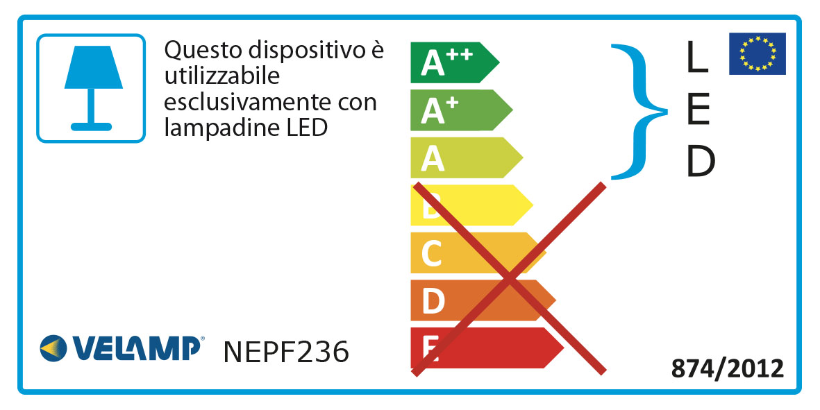Energy Label Plafoniera ip65 per soli tubi led 2x36w