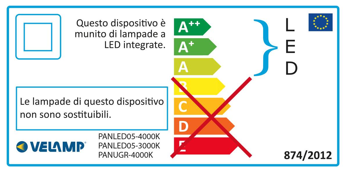 Energy Label ICEBERG: Pannello LED 60x60 Backlight, 3800 lumen, 3000K. Bianco