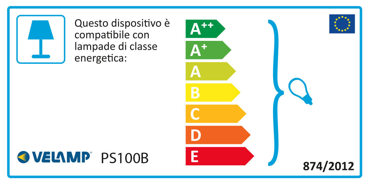 Energy Label PARTY LIGHT: Catenaria IP44 prolungabile 10m, 10 attacchi E27, nero