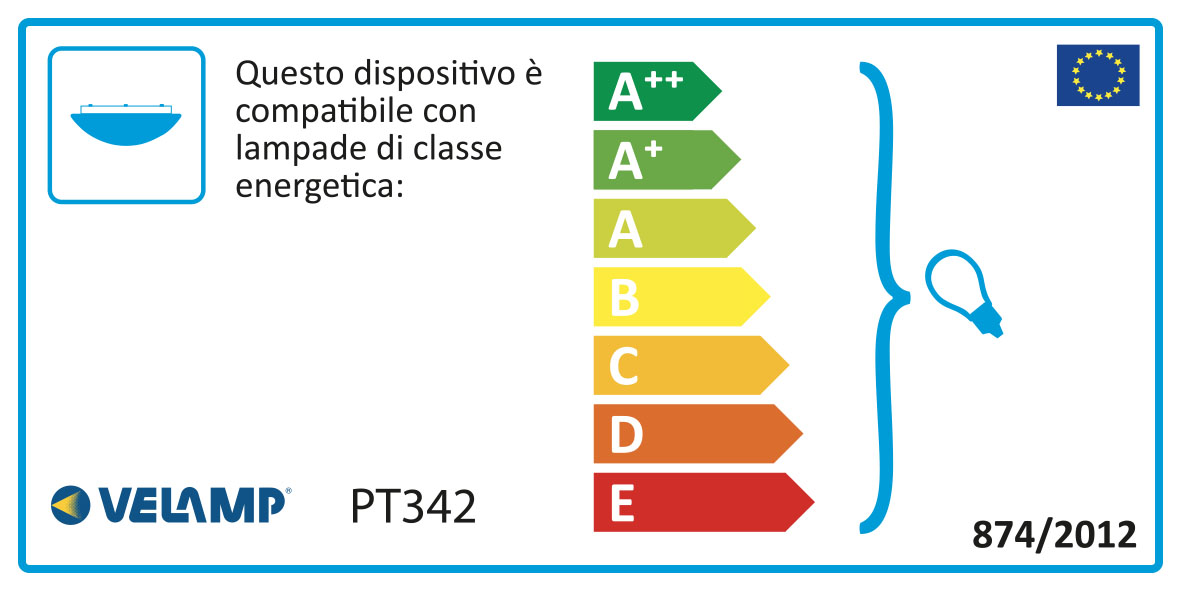 Energy Label Plafoniera in vetro quadrata 40x40cm 2xe27 mira
