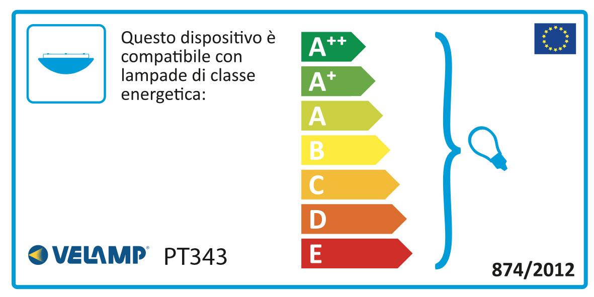 Energy Label Plafoniera in vetro satinato diametro 40cm 2xe27 saphir