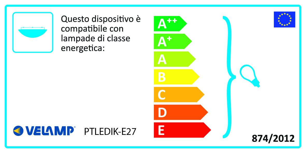 Energy Label Plafoniera e27 tonda diametro 27cm ip54 ik10 per esterni.