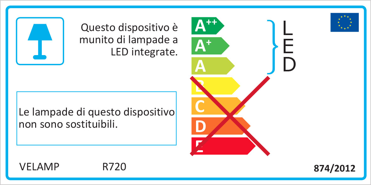 Energy Label Punto luce con pir + luce anti black out + torcia led led spina italiana
