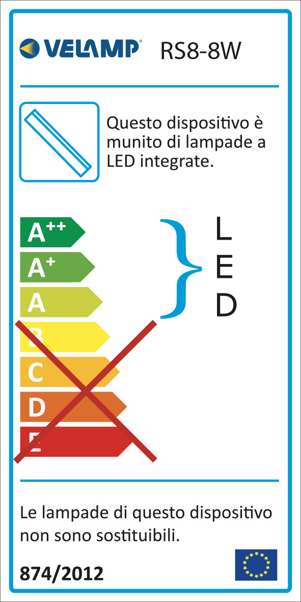 Energy Label Reglette sottopensile led 8w lunghezza 57,6 cm con interruttore 4000k