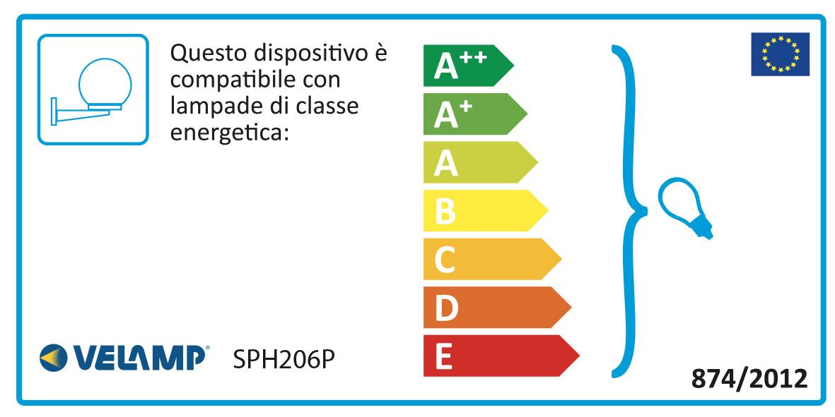 Energy Label Applique con sfera per esterno in PMMA, 200mm, Attacco E27, trasparente