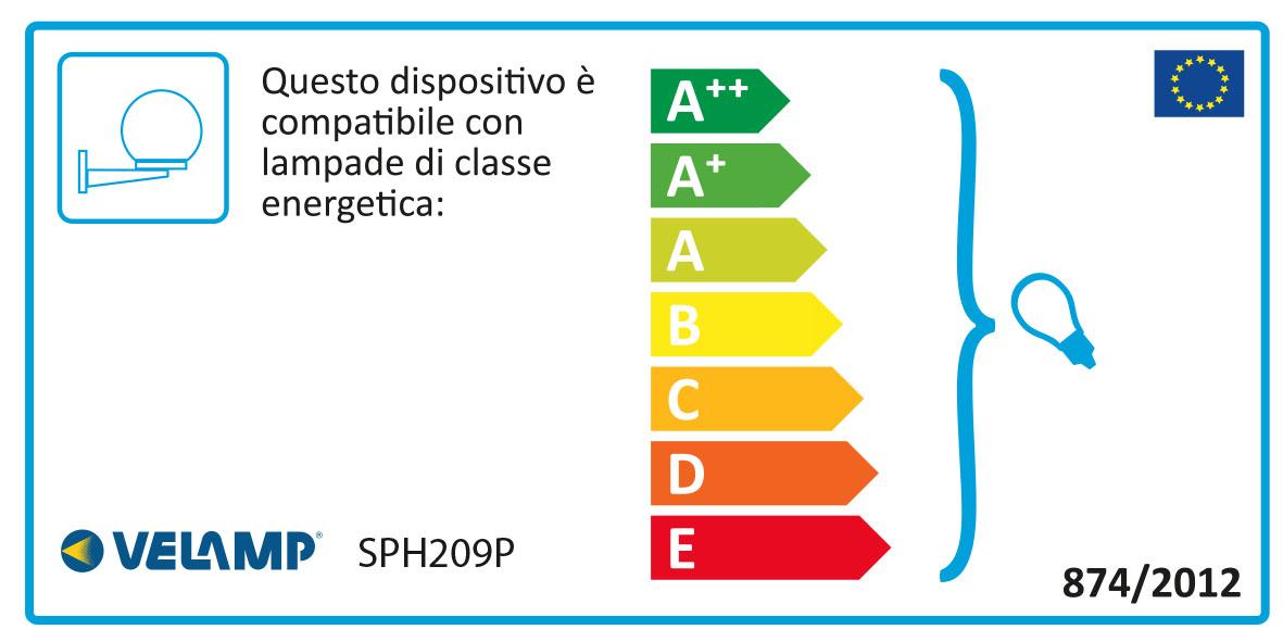 Energy Label Applique con sfera per esterno in PMMA, 200mm, E27, fumé