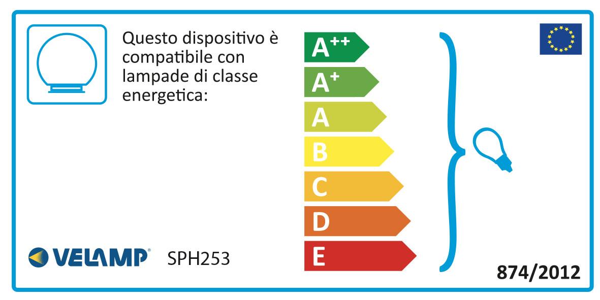 Energy Label Lampione per esterno in PMMA, 250mm, Attacco E27, trasparente