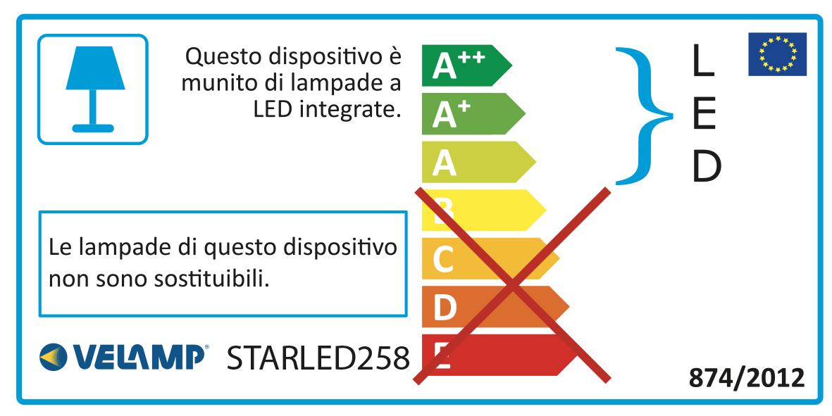 Energy Label STARLED: Plafoniera stagna LED integrati, 150 CM 6000LM