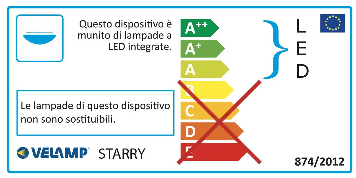 Energy Label Plafoniera led 36w diametro46cm con cambio colore e telecomando starry
