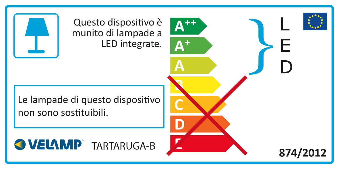 Energy Label TARTARUGA:  applique LED 5.5W bianca. IP54, Connettore Fast