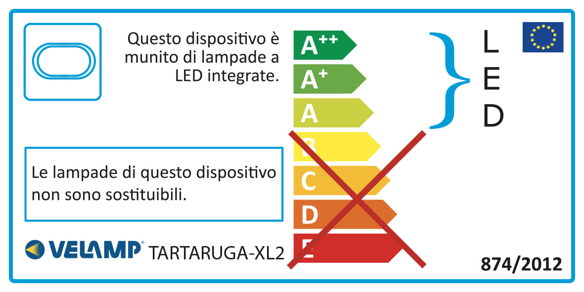 Energy Label Applique led 14w 2 cornici intercambiabili ip54 tartaruga xl2