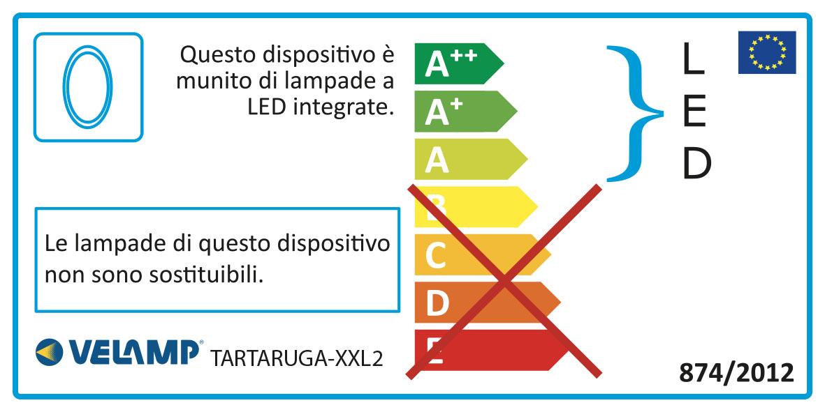 Energy Label Applique led 20w 1600 lumen ip65 tartaruga xxl2 bianco