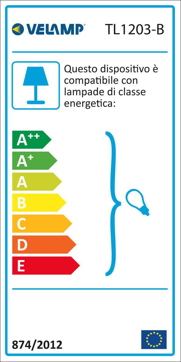 Energy Label CHARLESTON: Lampada da tavolo bianca con attacco E27, con clip