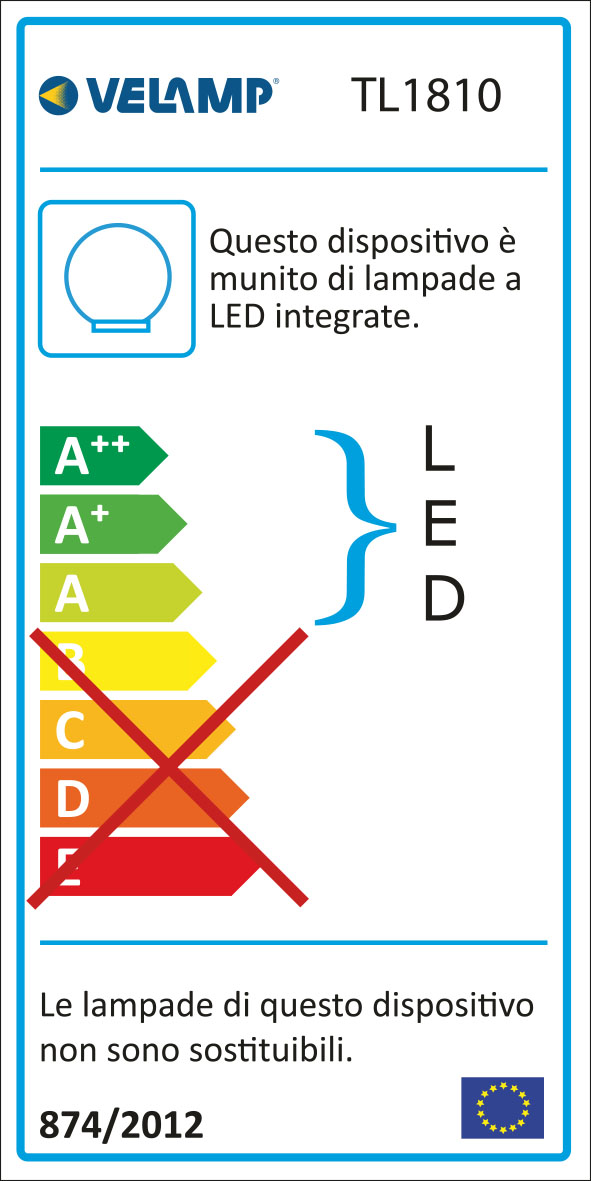 Energy Label Lampada led in vetro diametro 20 cm + rgb telecomando glamour bianco